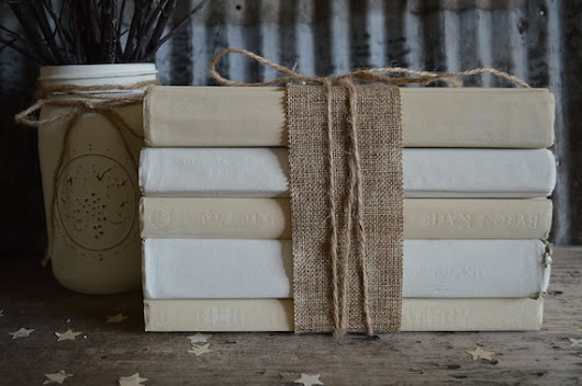 Stack of Large Painted Books Book Bundle Wedding by JuliBecker