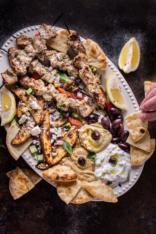 Ultimate Greek Chicken Souvlaki Platter • Salt & Lavender