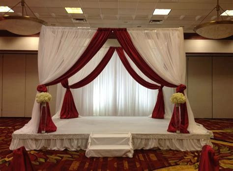 Red & White Fabric Mandap   Wedding Stages, Backdrops