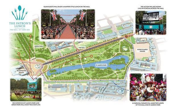 The Patron's Lunch - a map of events for the day's celebrations