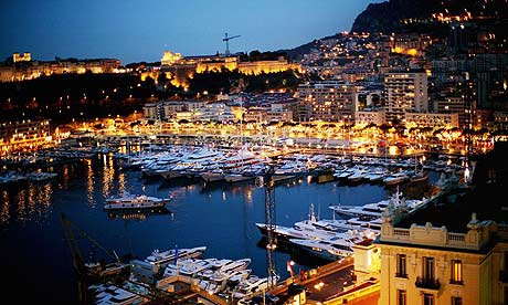 Luxury yachts moored in the harbour in Monte Carlo, Monaco