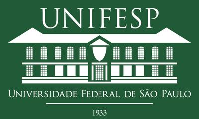 Arte com fundo verde escuro apresenta desenho da fachada da Unifesp e em cima está escrito unifesp. Embaixo, universidade federal de São Paulo, 1933. O desenho e as escritas são na cor branca