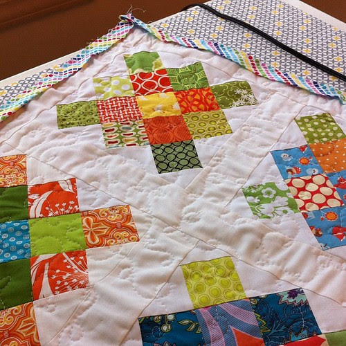 All quilted! Ready to hand-stitch the binding. #stashbash #thestashbash