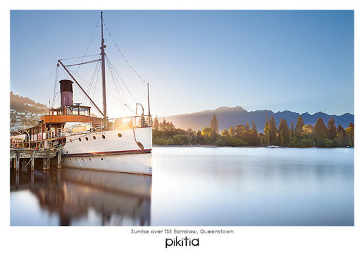 Postcard of Sunrise over TSS Earnslaw, Queenstown with code PB2