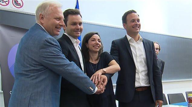 Les candidats à la direction du PQ : Jean-François Lisée, Paul St-Pierre Plamondon, Martine Ouellet et Alexandre Cloutier réunis à l'Université de Montréal pour un débat.
