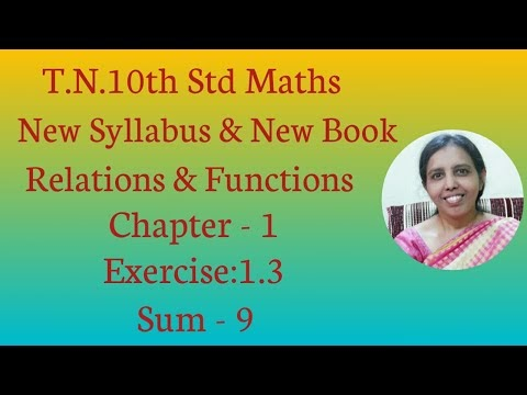 10th std Maths New Syllabus (T.N) 2019 - 2020 Relations & Functions Ex:1.3-9