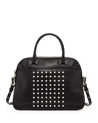 Milly Studded Leather Satchel Bag