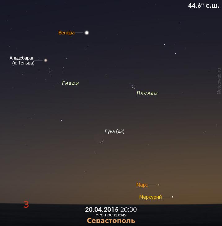 Растущая Луна на вечернем небе Севастополя 20 апреля 2015 года