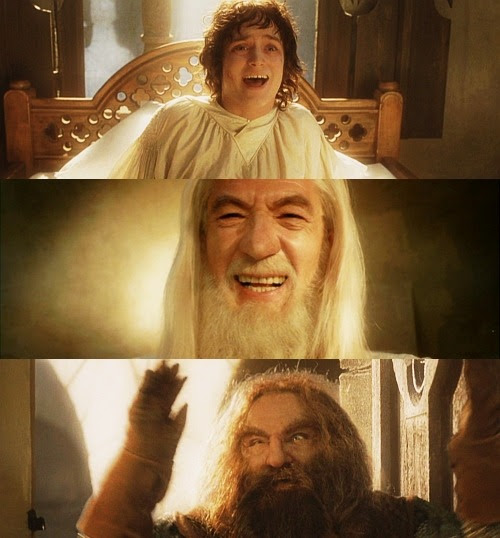 30 days of Lord of the Rings. Day 17→ A scene that makes you cringe. #ok this scene is supposed to be bittersweet and happy and all but there was NO NEED to sit there and guffaw at each other for half an hour i mean help i'm drowning in cheese. #it's like frodo wakes up and gandalf's standing there and frodo's like 'gaaandaaaalf?' and gandalf's like 'HO HO HO' and frodo's like 'HEE HEE HEE' and they continue that for 2 minutes and then merry and pippin come in and jump on poor frodo's bed i mean isn't he injured that would kind of hurt but all the meanwhile gandalf's still there like 'HO HO HO' while merry and pippin beat up poor injured frodo and then gimli comes in and i mean look at gimli he just goes insane at the sight of frodo and goes 'WAY-HAY-HAY HO HO HA ZIPPA-DEE-DOO-DAH' and throws his hands up in celebration and then legolas comes in and does nothing because he's an elf and frodo doesn't seem to remember who he is and gandalf's still like 'HO HO HO' and then aragorn comes in with this creepy/sexy smile that makes him look like he's about to rape frodo right there and then sam comes in and finally there's a sane moment but meanwhile your eyes have already started to bleed and you've started to wonder if this long journey has messed with their minds or WHAT
