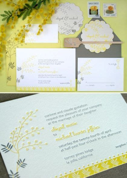 20 best wedding invitations yellow and grey images on
