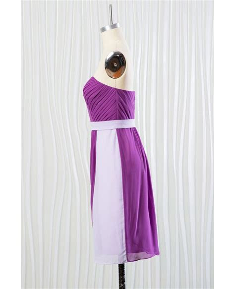 Short Purple Chiffon Bridesmaid Dress for Summer Beach