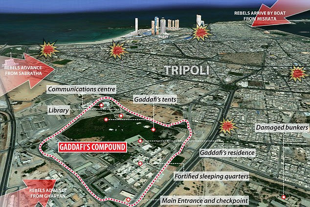Conflict: A map shows the location of Gaddafi's compound in relation to the most fierce fighting that has taken place across Tripoli