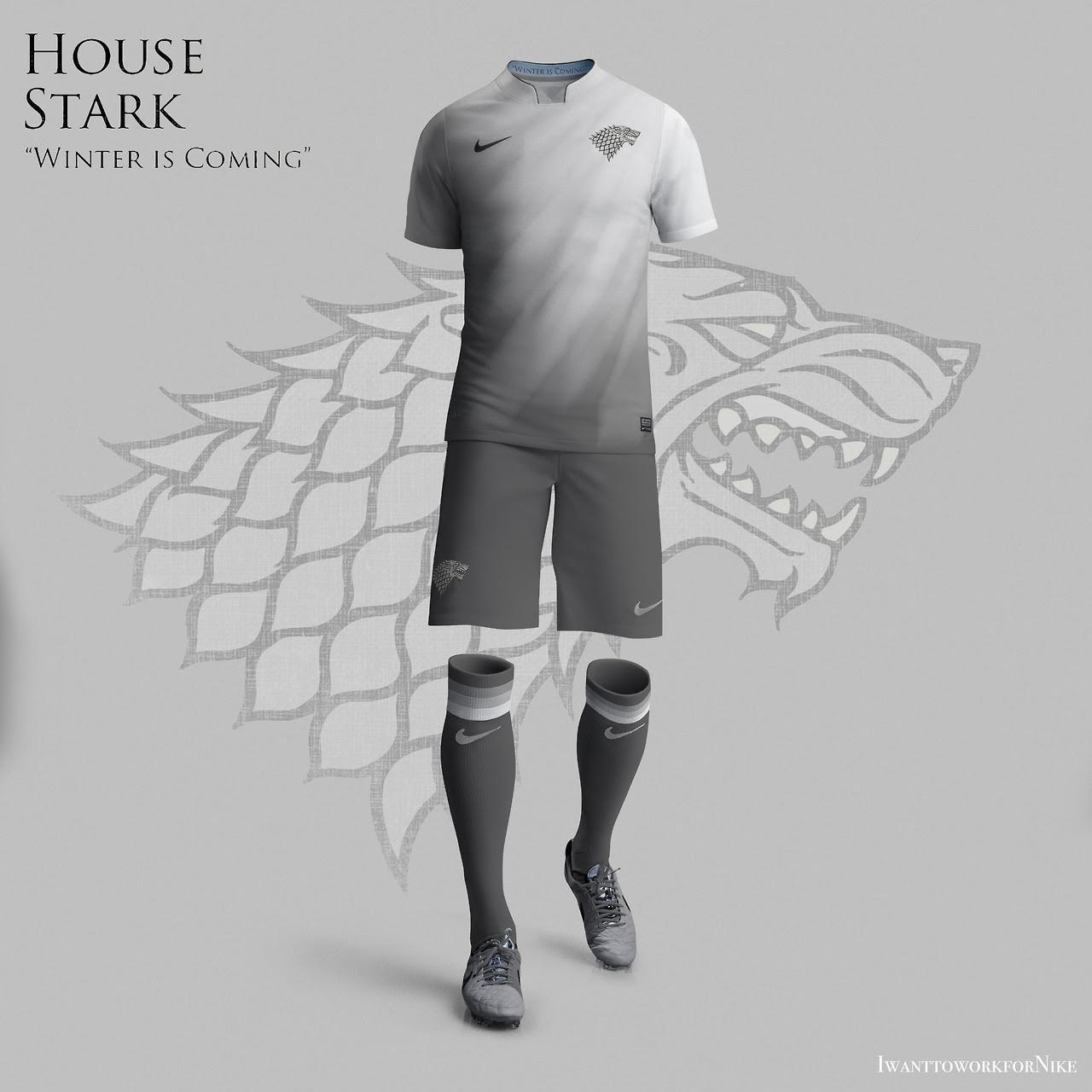 Equipaciones futboleras tipo Juego de Tronos - Stark