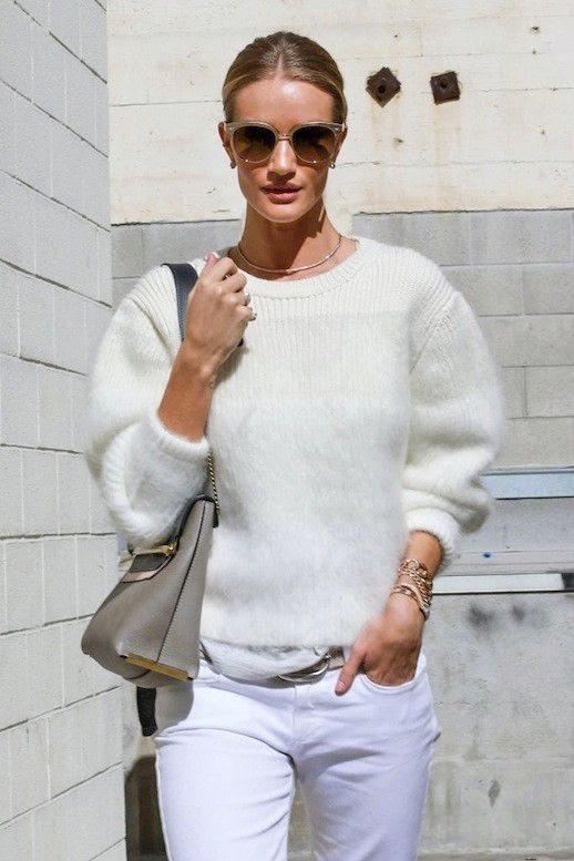 Le Fashion Blog Model Rosie Huntington Whiteley Fall All White Style Beige Sunglasses White Ribbed Sweater Grey Shoulder Bag White Jeans Via Zimbio