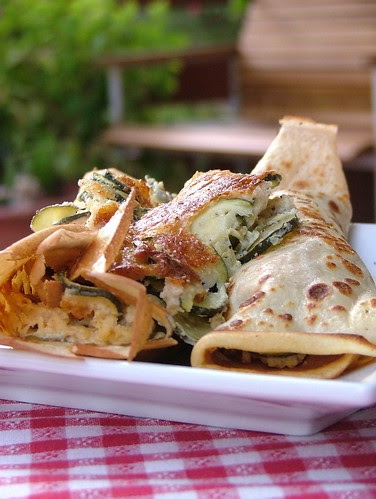 Crepes with zucchini & cheese
