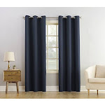 """No. 918 Montego Casual Textured Grommet Curtain Panel, 48"""" x 63"""", Navy Blue"""