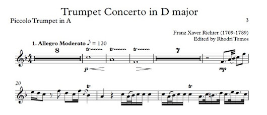 Richter Trumpet Concerto in D - play along accompaniment with sheet music