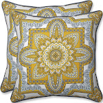 Outdoor/Indoor Malacca Yellow/Gray Throw Pillow Set of 2 - Pillow Perfect