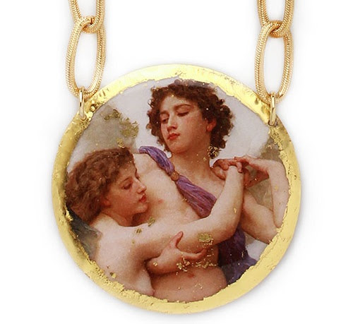 Medallion with reproductions of painting by William Adolphe Bouguereau - Cupid and Psyche