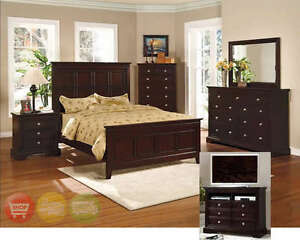 London King Bed 6pc Bedroom Set Espresso Panel Wood New | eBay