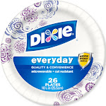 """Dixie Everyday Printed Paper Plates, 10-1/16"""" - 26 count"""