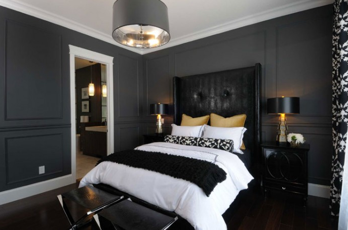 Black Leather Headboard - Contemporary - bedroom - Atmosphere