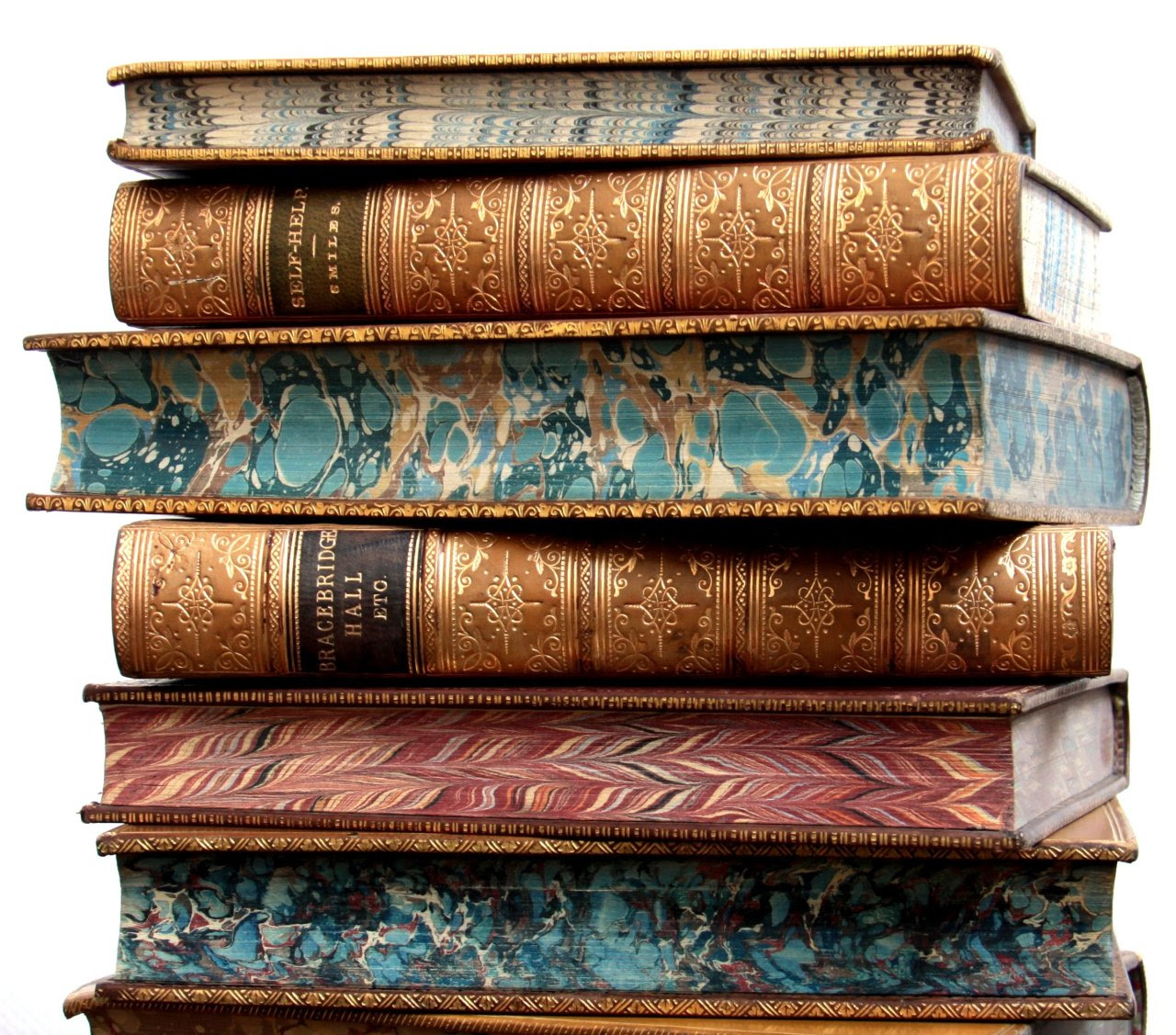 michaelmoonsbookshop:  19th century leather bound books with marbled pages edges