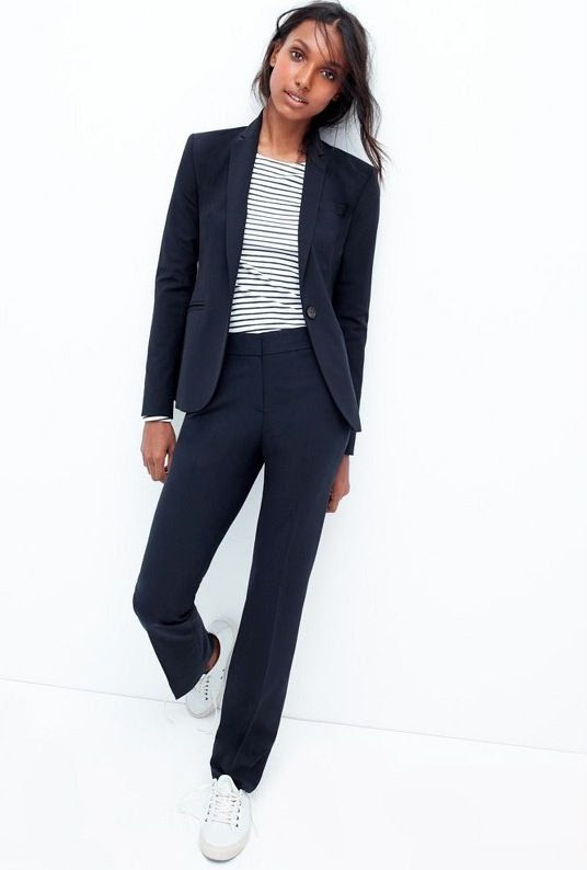 Le Fashion Blog Chic Easy Work Style Fall Looks Navy Suit Striped Tee Seavees White Sneakers Via JCrew