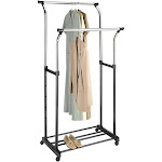 Whitmor Double Adjustable Garment Rack, Silver/Black