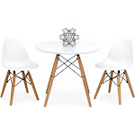 Best Choice Products Kids Eames Style Dining Table Set with 2 Armless Chairs, White
