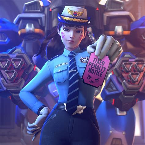 wallpaper officer dva overwatch  games