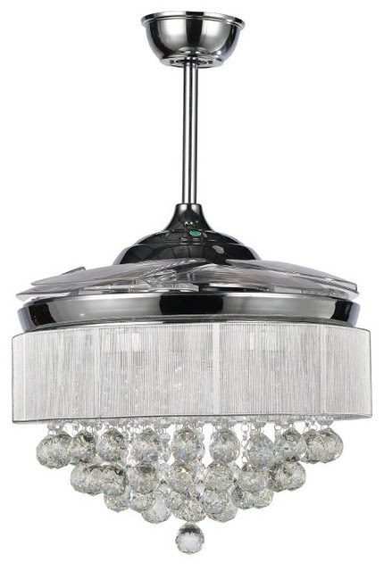 Crystal LED Ceiling Fan With Foldable Blades, Chrome - Traditional - Ceiling Fans - by Lamps Next