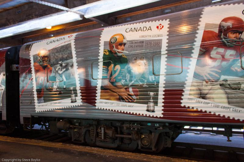 Stamps on the exterior of the Grey Cup train