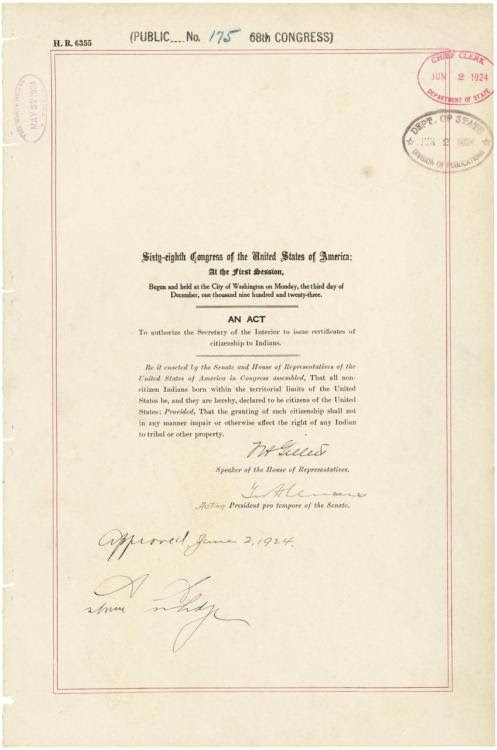 Today's Document • June 2 - Act to Grant Citizenship to Indians   Act...