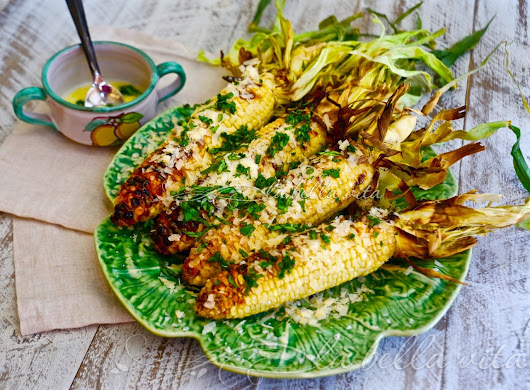 Grilled Italian Corn with Garlic-Basil Butter a perfect summer corn treat
