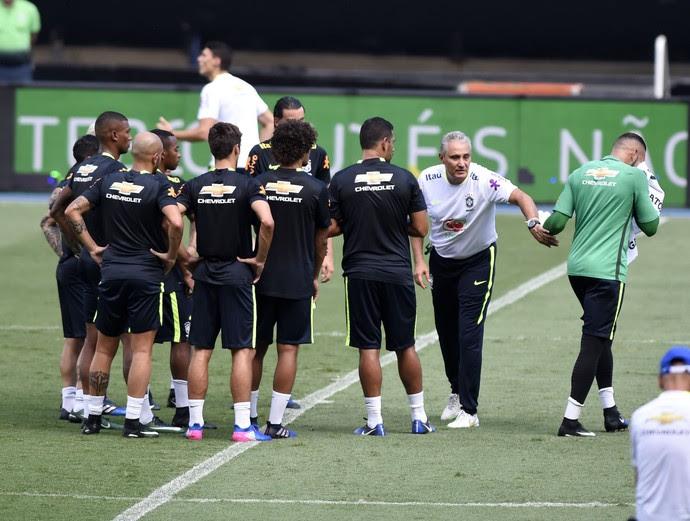treino seleção brasileira, Estádio Nilton Santos (Foto: André Durão)
