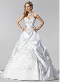 Ball-Gown Sweetheart Chapel Train Satin Wedding Dress With Embroidery Ruffle Beadwork