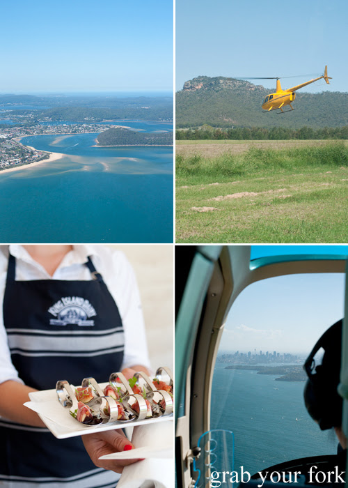 Helicopter views from Sydney to Hunter Valley for a tasting of King Island Dairy cheeses