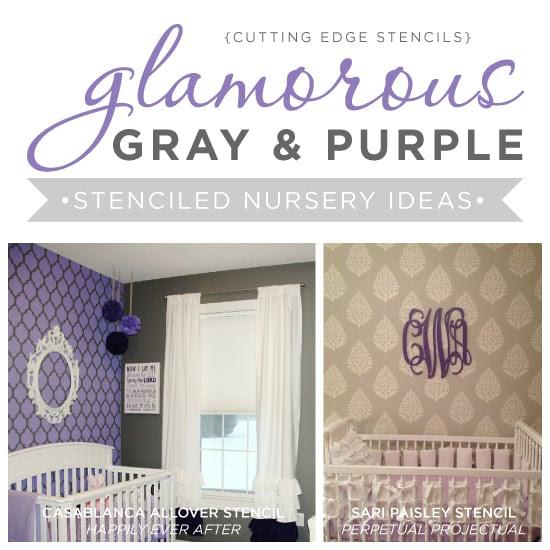 Glamorous Gray And Purple Stenciled Nursery Ideas