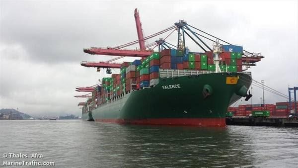 El buque porta contenedores Valence, que hace el recorrido entre China y Sudamérica. En junio de 2014 trajo varios equipos repletos de contrabando.
