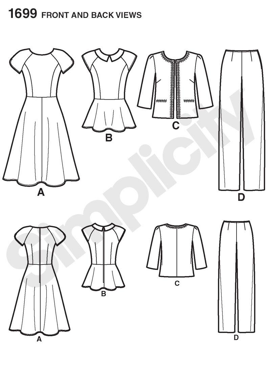 Simplicity 1699 Misses' & Miss Petite Sportswear  Line Drawing