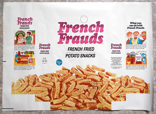 Vintage Pillsbury French Frauds Fried Potato Snacks Box Wrapper