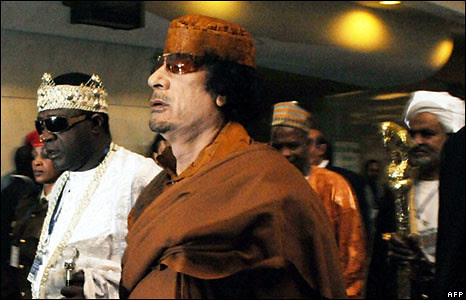 Libyan leader Gaddafi with traditional leaders at the African Union summit in Addis Ababa, Ethiopia. He was elected Chairperson of the African Union on February 2, 2009. Gaddafi has pledged to work towards realizing a continental government. by Pan-African News Wire File Photos