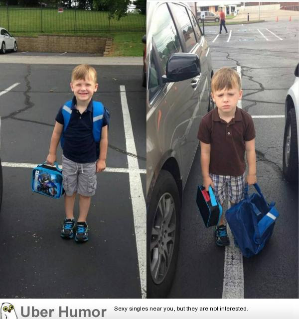 First Day Of School Vs Second Day Of School Funny Pictures Quotes