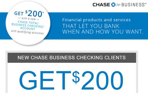 Chase Business Checking $200 bonus. No Direct Deposit Required