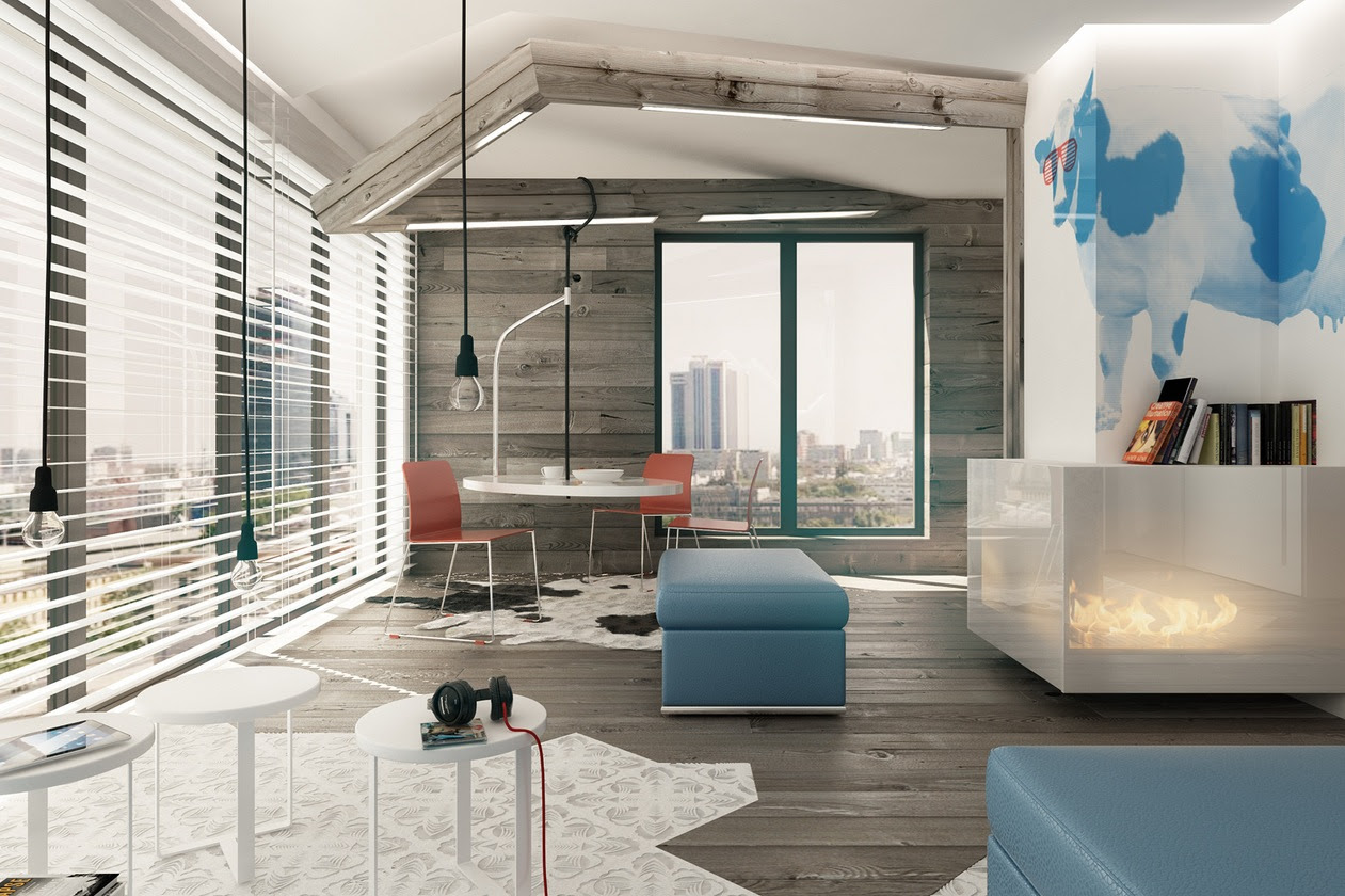 Blue Brown White Dining Lounge Interior Design Ideas