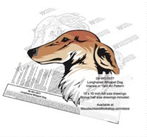 Longhaired Whippet Dog Intarsia or Yard Art Woodworking Plan - fee plans from WoodworkersWorkshop® Online Store - Longhaired Whippet dogs,pets,animals,dog breeds,intarsia,yard art,painting wood crafts,scrollsawing patterns,drawings,plywood,plywoodworking plans,woodworkers projects,workshop blueprints