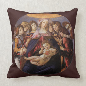 Madonna and Child with Angels by Sandro Botticelli throwpillow