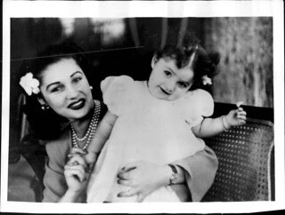 HRH Princess Fawzia (Divorced Empress Fawzia of Iran) with Her Daughter, HIH Princess Shahnaz Pahlavi.