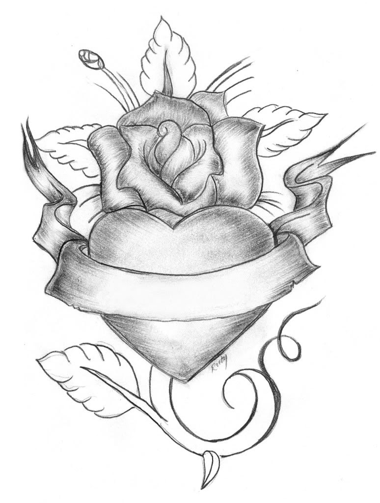 Hearts And Roses Drawing at GetDrawings | Free download